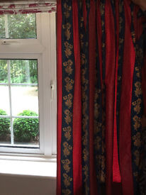 Curtains - 3 pairs - Red/Blue/Fawn