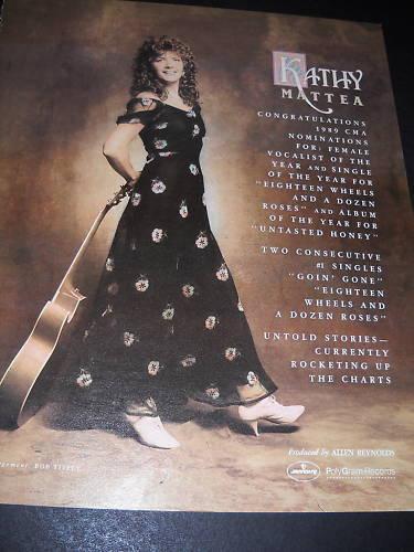 KATHY MATTEA Rare CMA Noms 1989 PROMO POSTER AD mint condition