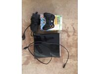 Xbox 360 Elite with games and guitar
