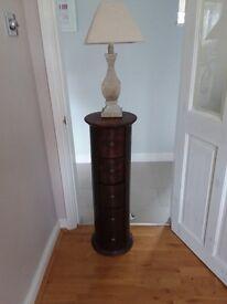 Dark wood round lamp stand