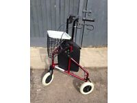 LIGHTWEIGHT FOLDING TRI-WALKER - 3 WHEELED ROLLATOR MOBILITY AID FRAME