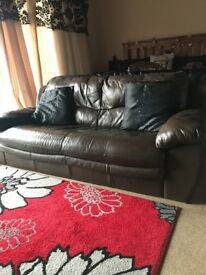 Brown leather 3seater