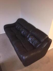 Dark leather 3 piece Sofa suite