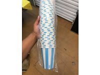 700ish Blue Striped Milkshake PET Cups 12oz