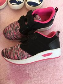 Girls pink and black trainers size Infant 11