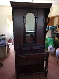 Mahogany wall stand with mirror
