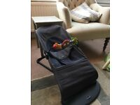 BABYBJORN Bouncer Balance in Charcoal with wooden toy attachment
