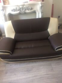 Brown and Cream Leather Sofas