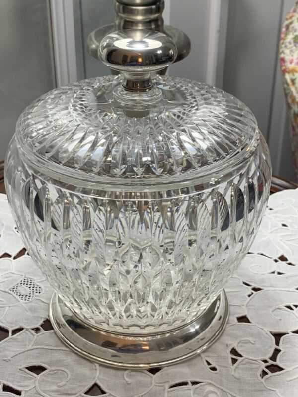 Hawkes sterling and glass lidded compote