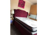 Double divan Beds with mattress headboard and 2 draws