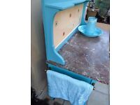 DUCK EGG BLUE SHABBY CHIC WASH STAND WITH MARBLE TOP.