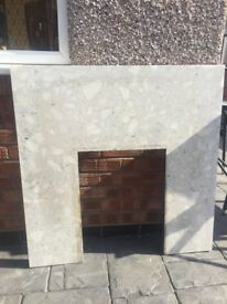 Marble back panel and hearth
