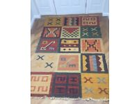 Tribal MultiColoured Squares Rug. Ex Gillies of Broughty Ferry