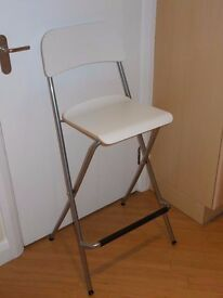 IKEA Bar stool with backrest, foldable FRANKLIN White/silver-colour