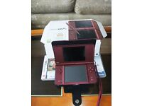 Nintendo DSi XL console with games and accessories - Wine Red