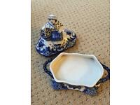 Russian Hand Painted Porcelain - Gzhel Butter Dish