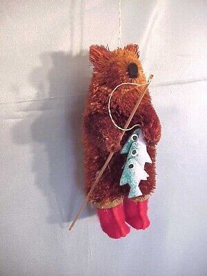 Macy's Bear in Red Boots with Fishing Pole Buri Christmas Ornament ~NWT!