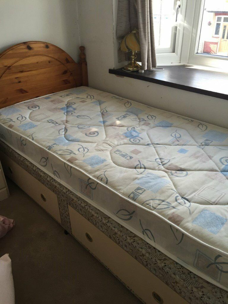 DIVAN BED WITH TWO DRAWESPINE HEAD BOOREDNEW MATTRESS (STANDARD SINGLEin Rayleigh, EssexGumtree - DIVAN BED WITH TWO DRAWES PINE HEAD BOORED NEW MATTRESS ( STANDARD SINGLE ) GOOD CONDITION! £60 PICK UP FROM WESTCLIFF ON SEA