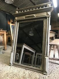 Vintage Antique French Painted Bevelled Mirror
