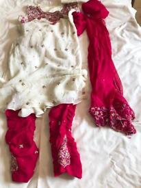 Indian suit - cerise pink and creamy white colour