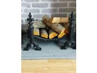 Cast iron fireplace grate, Fleur de Lys style - £10