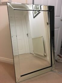 Large Rectangular Mirror with Mirrored Surround - Two Identical Mirrors Available
