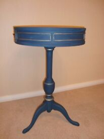 A Vintage tall Drum or Side Table painted in Annie Sloan 'Aubusson Blue'