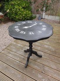 Hand Painted Clock Design Pedestal Table : : Annie Sloan Graphite