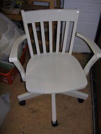 White desk chair, needs slight repair to arm, but good - from Ikea originally