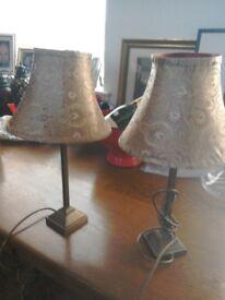 Laura Ashley table lamps, silk shades, brass columns. Vgc