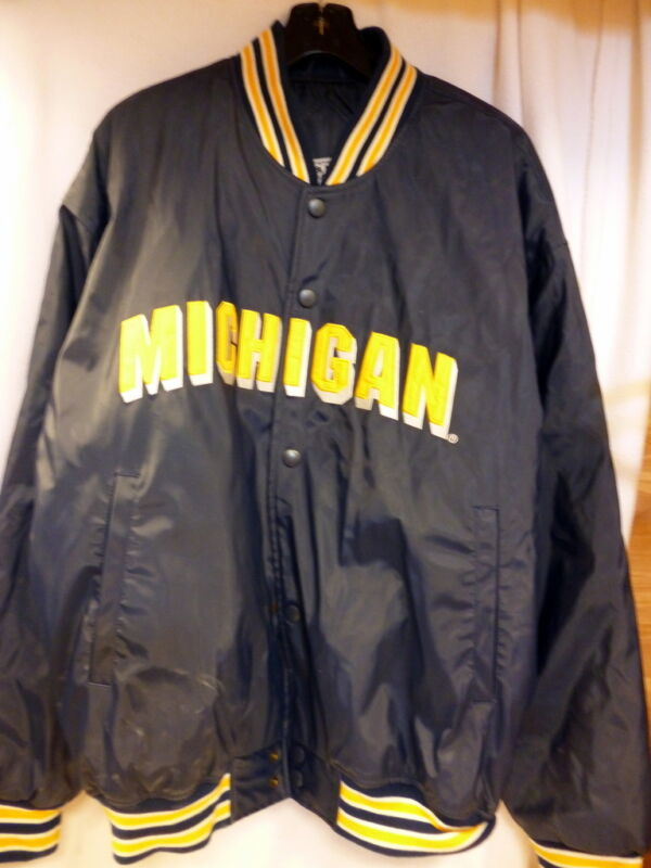 STEVE & BARRY MEN'S MICHIGAN HEAVY NAVY BLUE JACKET XL SNAP FRONT