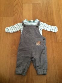 M&S baby boy hedgehog dungarees