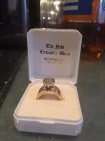 1/2 carrot diamond 9carrot gold cluster ring