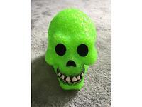 Green light up Skull lantern
