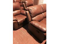 high quality brown leather-2;;1;;1;; recliner suite