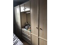 2 wardrobes with upper shelves plus a dressing table unit with upper cupboard and 3 drawers