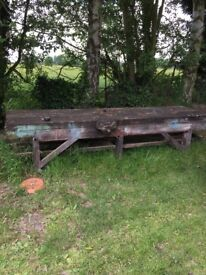 Very Heavy Vintage Woodwork Bench 10ft Wide
