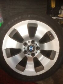 Fair set of BMW E90 158 style alloys and Goodyear tyres 225/45/17