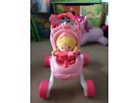 Fisher price pink pram walker and doll