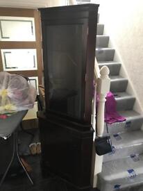 Tall dark wood & glass corner unit - £25 ONO