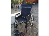 WHEELCHAIR SELF PROPELLED WITH FOOT RESTS FOLDS FOR STORAGE CARRY 112KG IN WEIGHT £30 FOR QUICKSALE