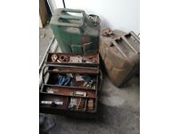 2 x Jerry Petrol Cans and tool box