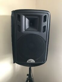 "W audio set of 2 speakers - PSR 15. 15"" mint condition sold with pair of stands and cases"