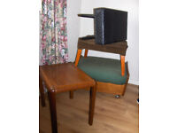 3 Footstools, small wooden side table & glass topped coffee table