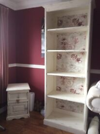 Upcycled Bookcase - Light Distressing with Floral Background