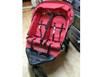 Out n about double buggy pushchair red