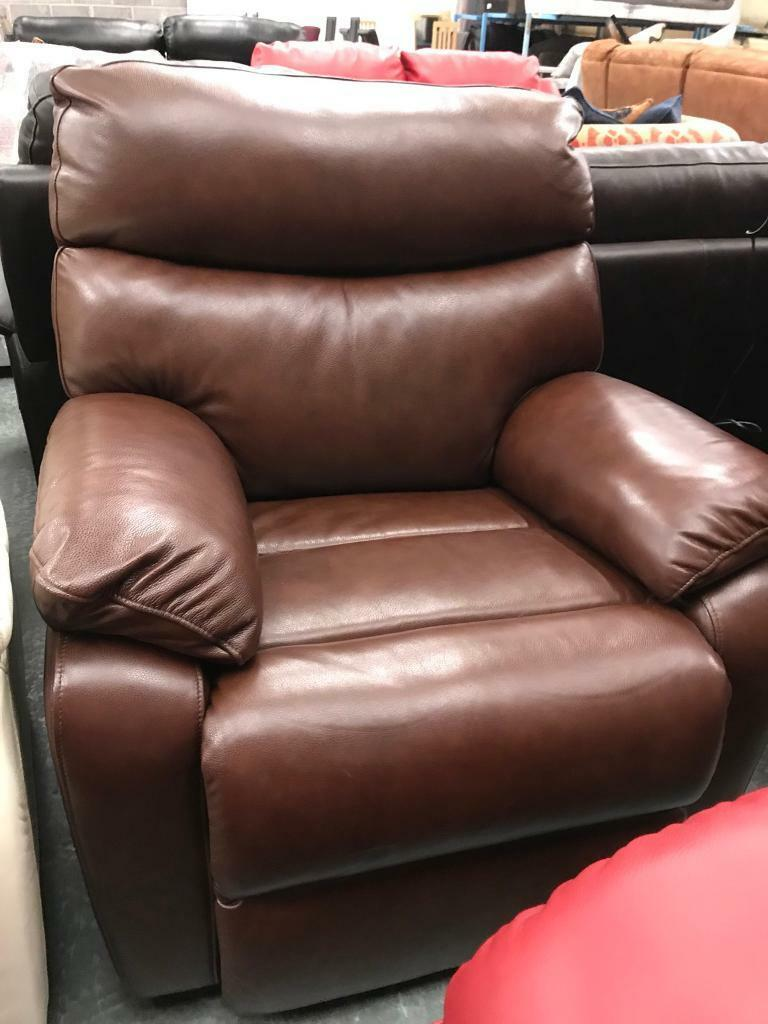 Brown leather electric reclining armchair