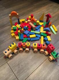 Wooden building blocks and train