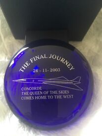 Concorde Bristol Blue Glass Limited Edition Paperweight