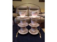 Sampson Smith Old Royal Bone China Set of 6 Demitasse Cup & Saucer on silver plate stand.